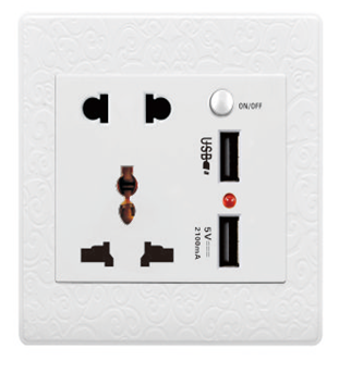 Super Material Reliable Design 2 USB wall electric socket outlet with switch/2 usb socket outlet/Universal wall socket outlet
