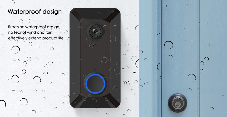 Smart Video Doorbell Camera Wifi with Motion Detector 720P HD Home Security Camera with Cloud Storage Two-Way Audio