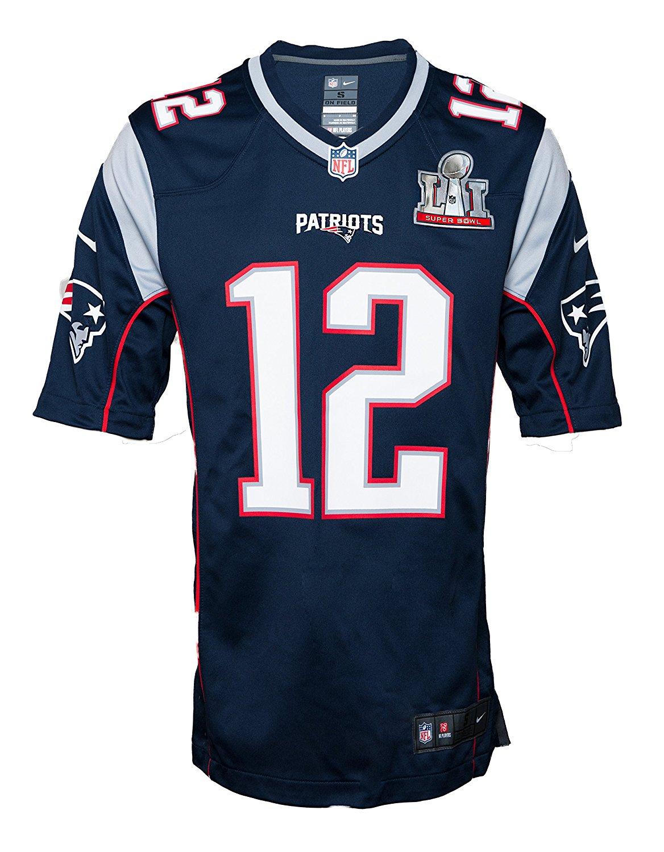 3207a7ec3ad Get Quotations · Nike Men's NFL New England Patriots Tom Brady 2017  SuperBowl Jersey - Navy - XL