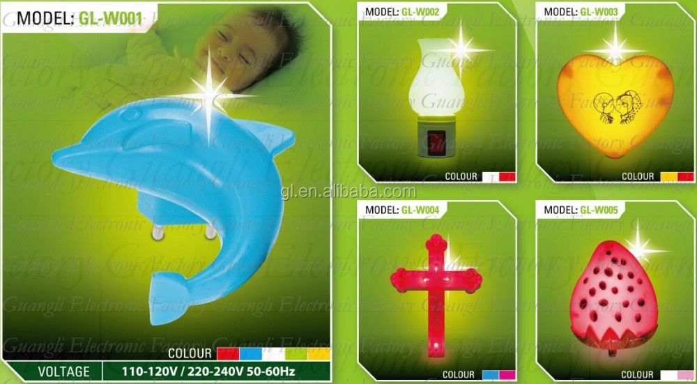 W001 cartoon plug in night light with 0.6W and 110V or 220V D*lphin shape baby LED mini switch