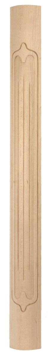 """Cathedral Series - 2-3/8"""" x 2-3/8"""" x 36"""" Round Toe; Fluted Face Wood Corner Post in Rubberwood"""