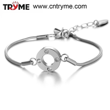 TRYME JEWELRY Trendy Stainless Steel Silver Snake Chain Bracelet European Style Crystal Charm Bracelet Jewelry Wholesaler, 693