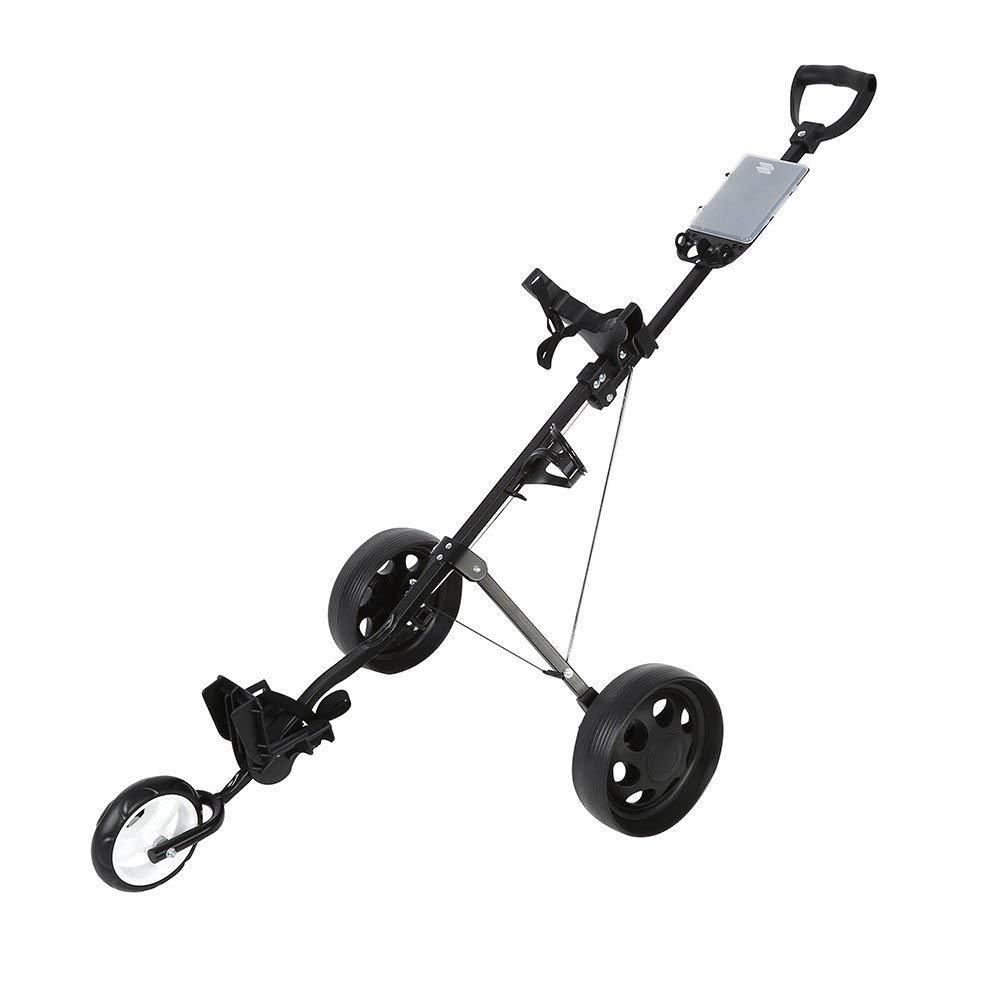 Zerone Golf Push Cart, Durable Foldable Golf Cart 3 Wheels Lightweight Golf Club Push Pull Cart Trolley with Footbrake System Accessory