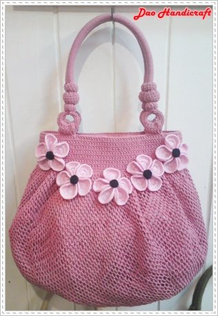 Handmade Bag Handbag Hobo Style Cotton Pastel Pink With Forget Me Not Flower Handicraft Product On Alibaba