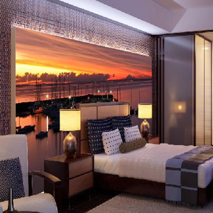 Soggiorno corridoio parete 3d caldo tramonto paesaggio for Carta parete adesiva