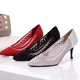 High heels vintage genuine leather lady bridal dress shoes fashion new style shoes with pointed toes