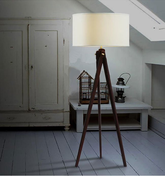 Natural Wood Handmade Modern Tripod wooden Floor lamp with cloth shade