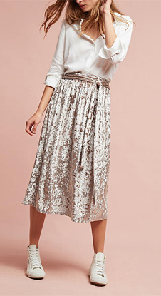 Latest open fork design high-waisted fashion women long Pleated skirt