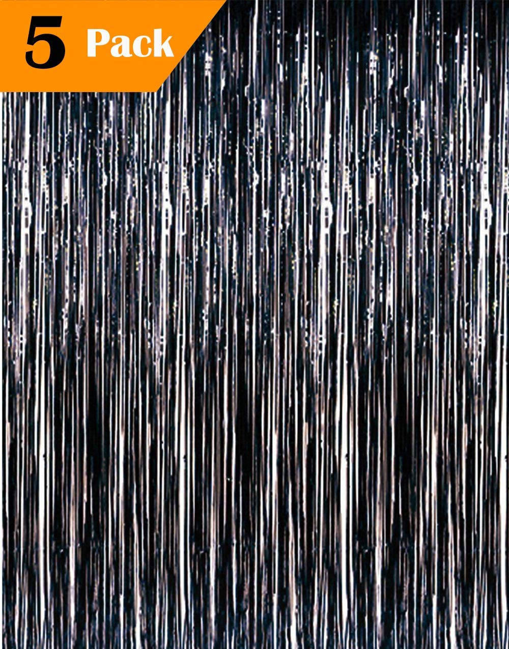 eforpretty 3.2 ft x 9.8 ft Metallic Tinsel Foil Fringe Curtains for Party Photo Backdrop Wedding Decor (5 Pcs Black)