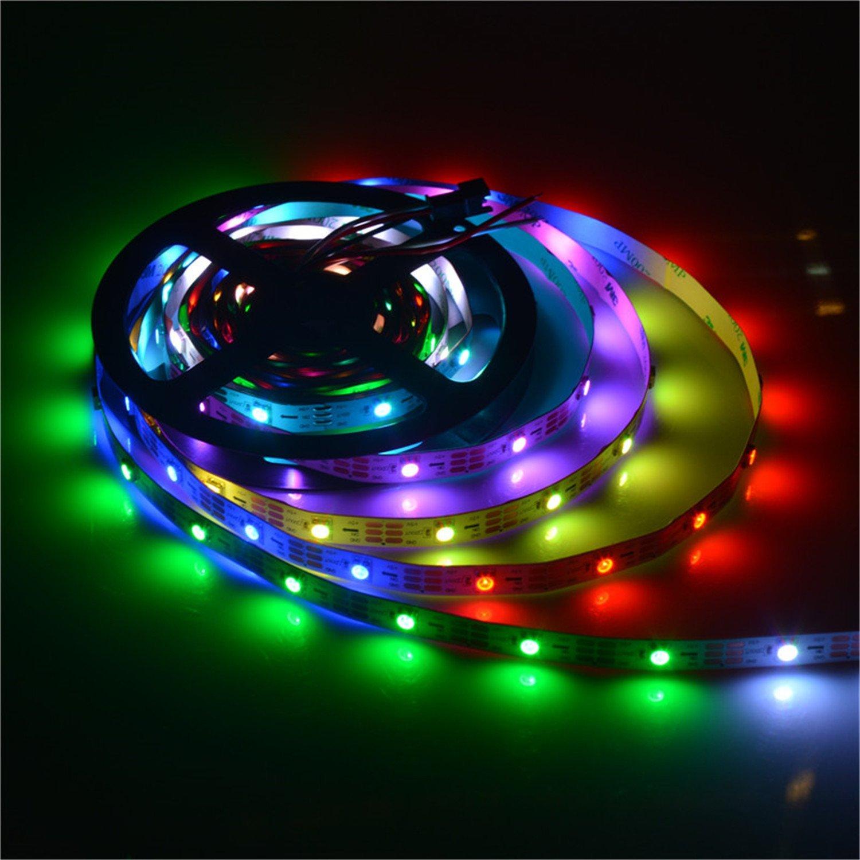 MOKUNGIT WS2812B LED Strip 16.4Ft 5M WS2812B 30Pixels/m 150 Pixels Programmable Individual Addressable LED Strip Light WS2811 Built-in 5050 RGB Smart LED Pixel Strip DC5V White PCB Non-waterproof IP33