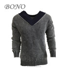 New style v neck collar long sleeve slim fit pullover sweater for men