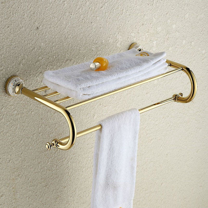 Golden Ceramic Wall Mounted Towel Rack Towel Shelf Towel Holder