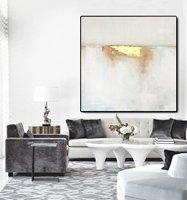 Modern Floater Framed Handmade Gold Abstract Wall Art Canvas Oil Painting for Home Decoration