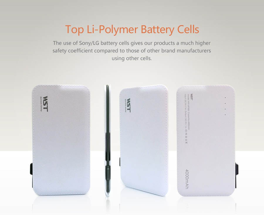 Alibaba best sellers 4000 mah cell phone power banks universal with built in cable
