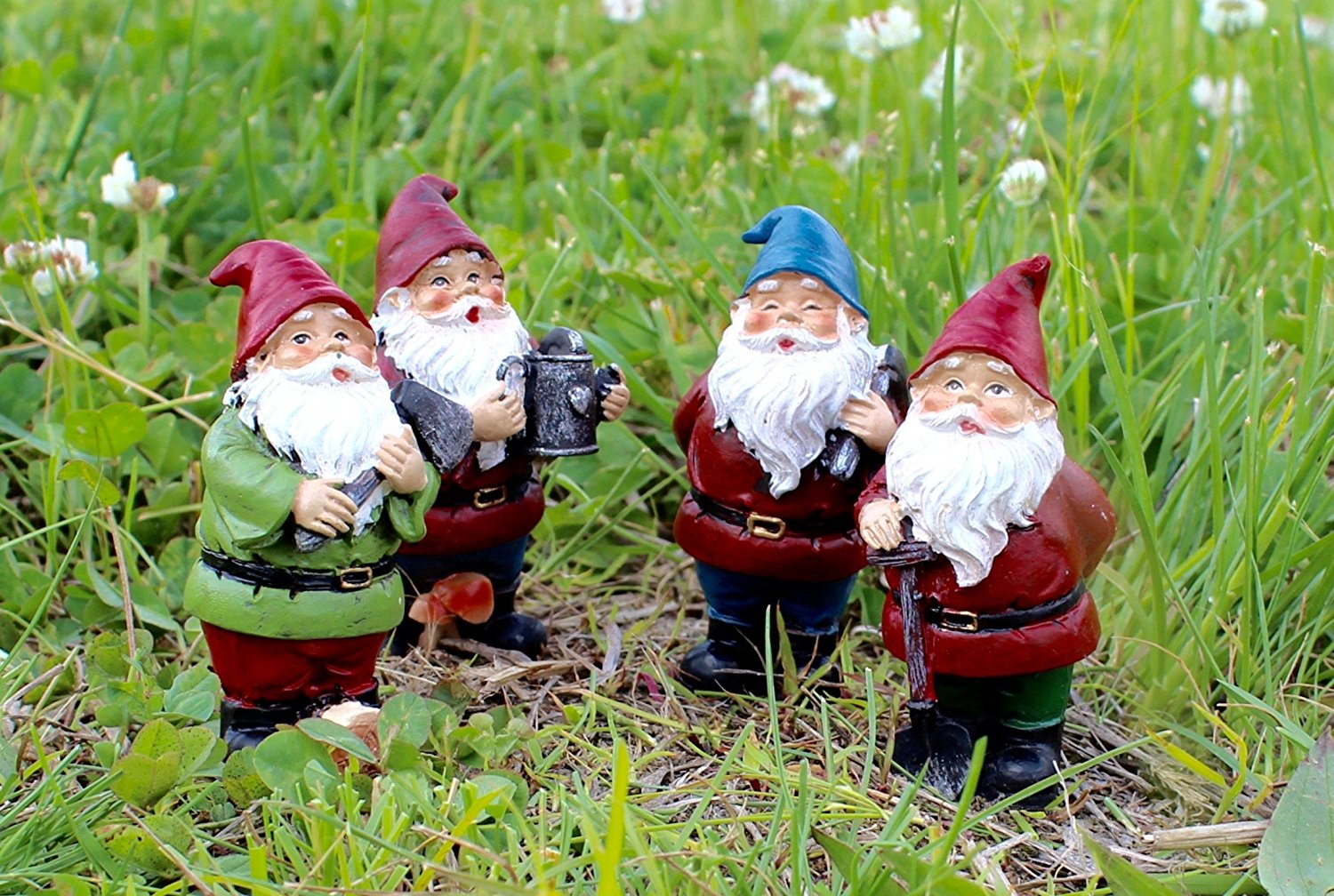 Set of 4 Special T Imports Miniature Resin Gnome Figurines