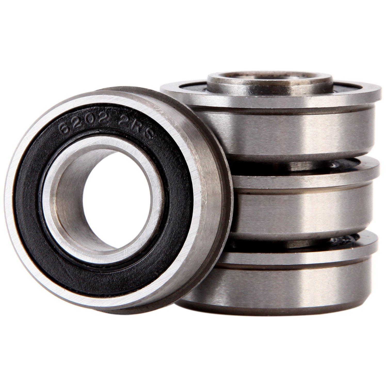 "XiKe 4 Pack ID 5/8"" x OD 1-3/8"" Flanged Ball Bearing, Lawn Mower, Wheelbarrows, Carts & Hand Trucks Wheel Hub for Suitable, Replace JD, MTD, Stens and Marathon."