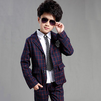 Free shipping two botton Autumn Boy Casual Suit Single Breasted Plaid Children Blazers Clothes Kids Gentleman Suit
