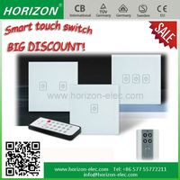 Easy operation glass wireless remote control light switch and socket with LED backlight glass touch switch panel