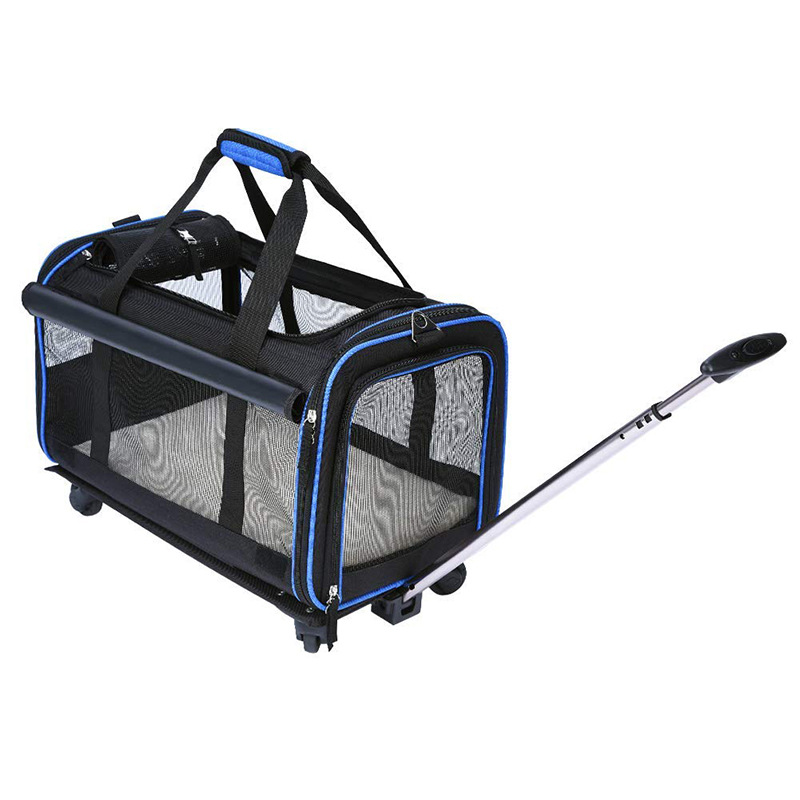 Pet Travel Carrier Airline Approved Removable Wheeled Pet Carrier for Medium & Small Dogs Puppy Cat with Comfortable Fleece