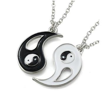 Black white enamel alloy yin yang taiji puzzle pieces pendant set black white enamel alloy yin yang taiji puzzle pieces pendant set relationship necklace aloadofball Images