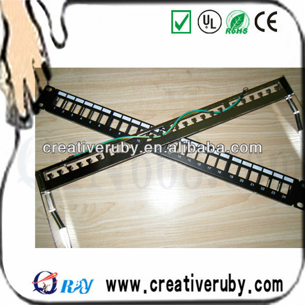 shenzhen factory CAT5E / CAT6 24port unloaded Network Patch Panel With Cable Manager