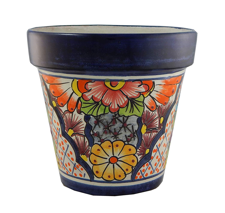 Mexican Talavera Planter Ceramic Flower Pot Folk Art Pottery Garden Handmade 29