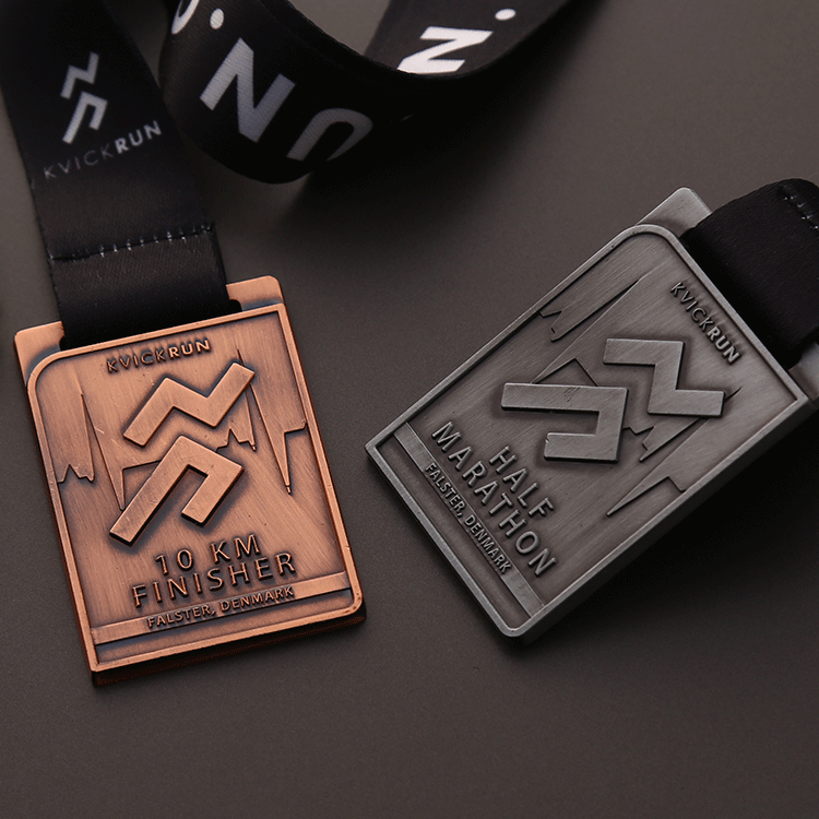 Shuanghua factory customize sports antique finished marathon running medals