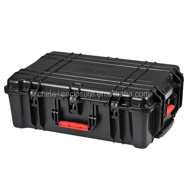 Water resistant large duty plastic equipment cases tool boxes