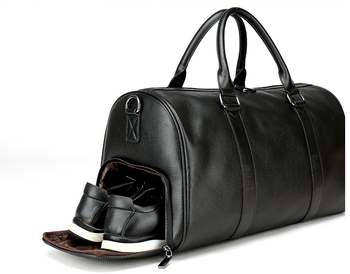Fashion Business Men Cowhide Leather Duffle Bag Weekend Travel Gym Luggage With Independent Shoes Compartment