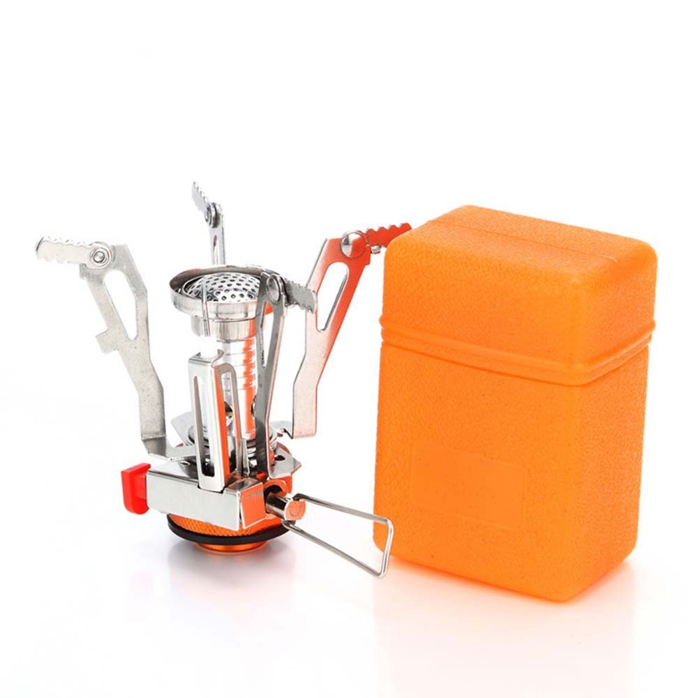 BicycleStore Portable Ultralight Outdoor Backpacking Camping Stoves With Piezo Ignition Mini Foldable Windproof Stoves With Safe Usage Orange