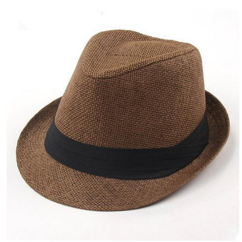 fa4df128b62 1pc Unisex Women Men Casual Trendy Beach Sun Straw Panama Jazz Hat Cowboy  Fedora Gangster Cap
