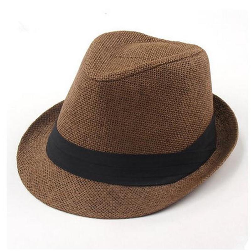 fa4df128b62 1pc Unisex Women Men Casual Trendy Beach Sun Straw Panama Jazz Hat Cowboy  Fedora Gangster Cap