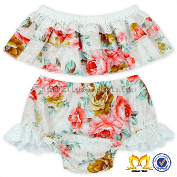 Baby Girls Halter Bowknot Tube Top+Floral Short Bathing Suit Girls Swimwear