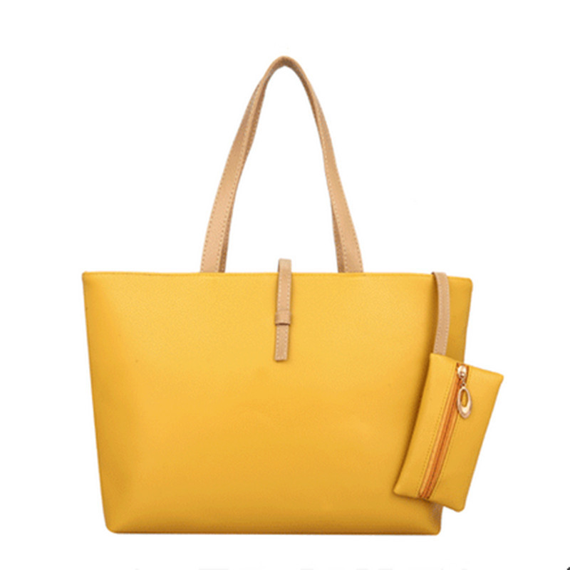 Free Shipping 2015 new fashion women PU shoulder bag medium casual tote solid  handbag zipper bag