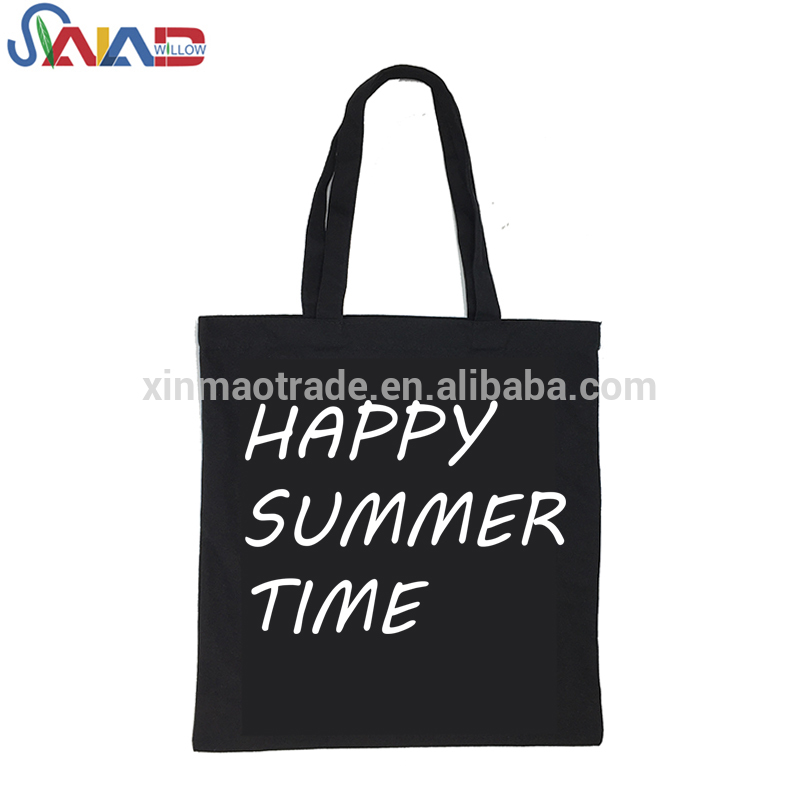 Custom logo printed promotional tote black canvas cottons bag