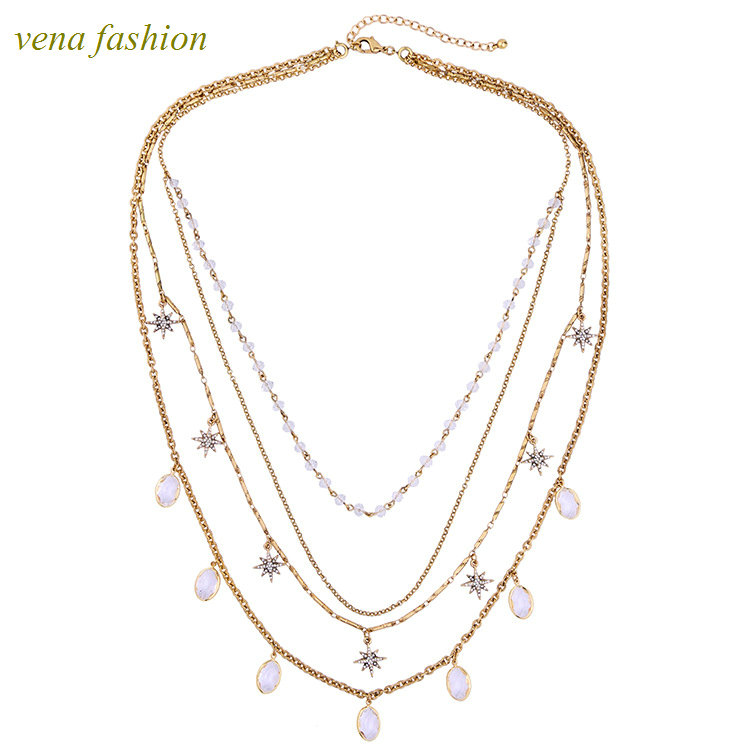 choker bead drop gem multi layers gold chain necklace