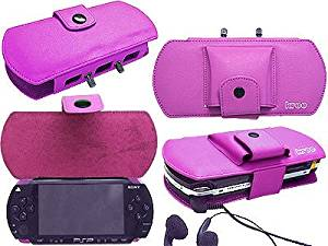 Deluxe PSP Leather Carrying Case for Sony PSP - Purple