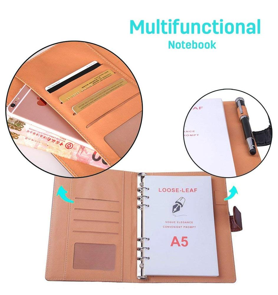 Premium Leather Notebook Writing Journal Hard Cover Refillable NoteBooks Loose Leaf Diary Notepad A5 with Pen Loop