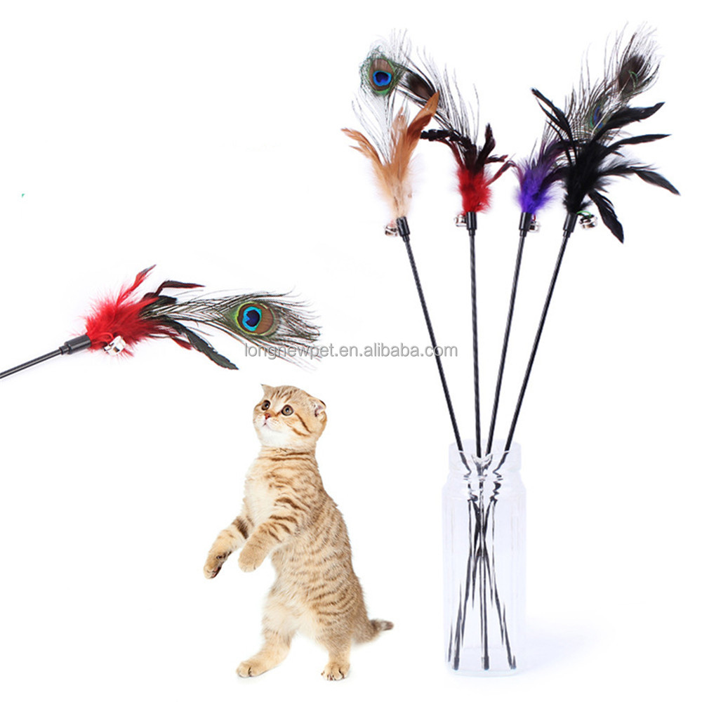 Peacock Feather Cat Teaser Toy with Jingle Bell