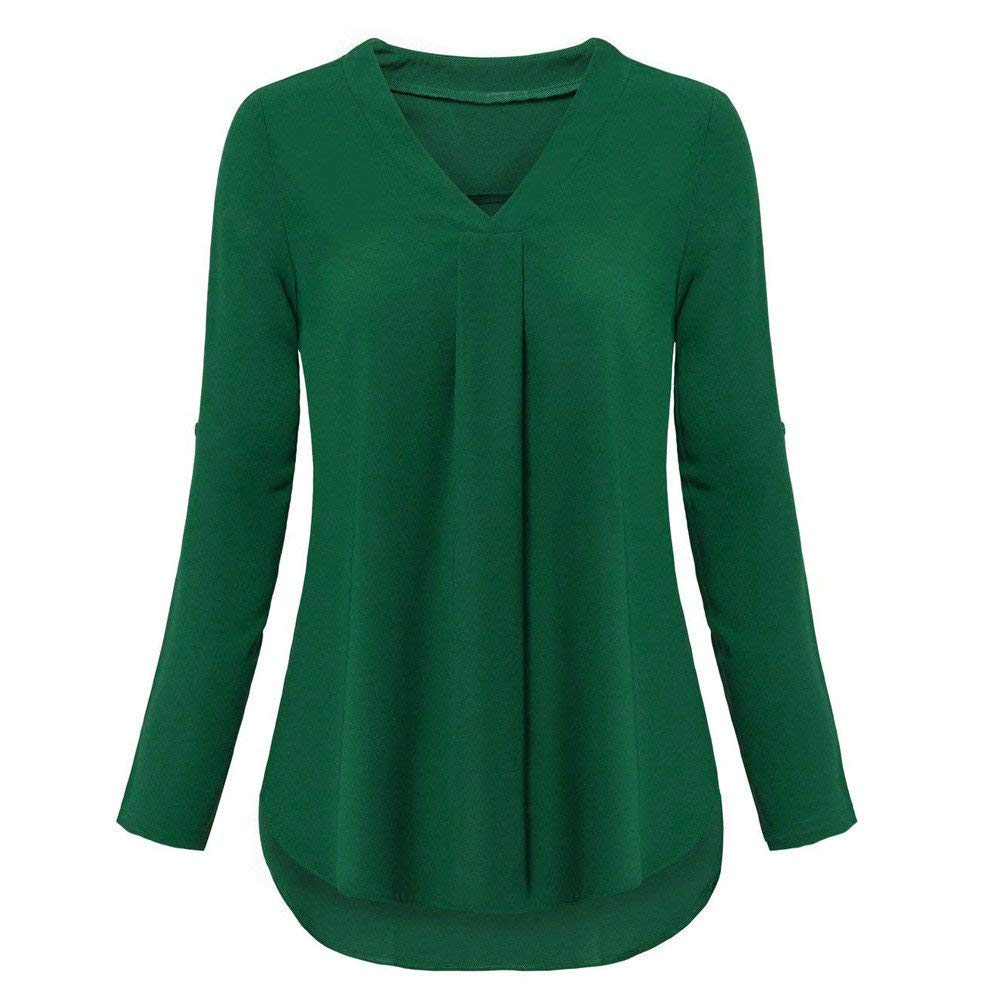 Womens Tunic Tops Plus Size Womens Fashion Long Sleeve Roll-Up Top Casual V Neck Layered Shirt Blouses