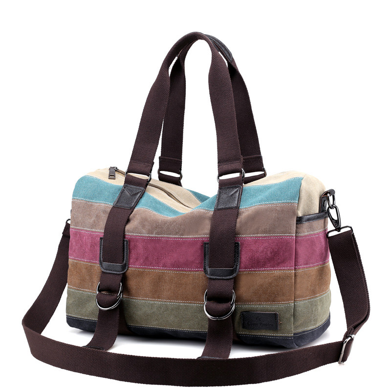RY1192 Brand Vintage Women Patchwork Canvas Handbags Casual Shoulder Bags Big Shopping Stripe Rainbow Travel Messenger bags