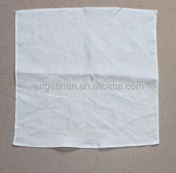wholesale high quality textile pure flax linen fancy handkerchief with piping hem