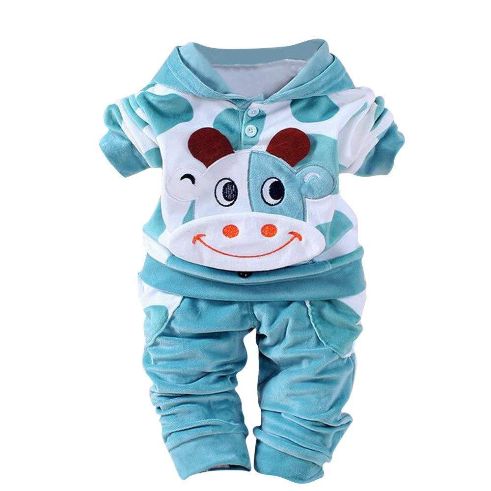 Newborn Baby Girls Boys Cartoon Cow Warm Velvet Hooded Tops Outfits Set (3-6 Months, Blue)
