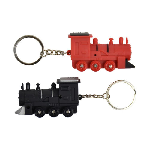 Red &amp; Black Train with Flashlight Plastic Keychain Key Ring <strong>Cute</strong> <strong>Gift</strong>