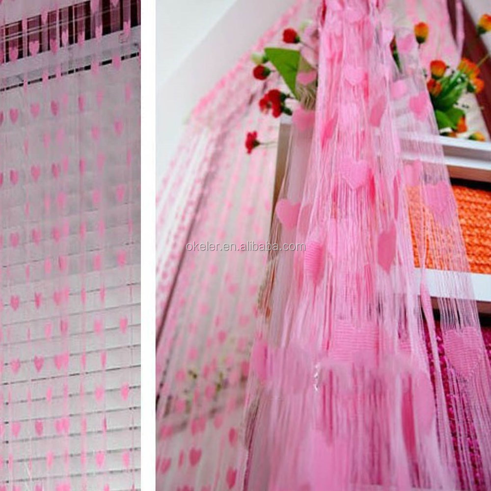Soft Pink Stylish Romantic Love Heart Pattern Room Window Tassel String Curtain