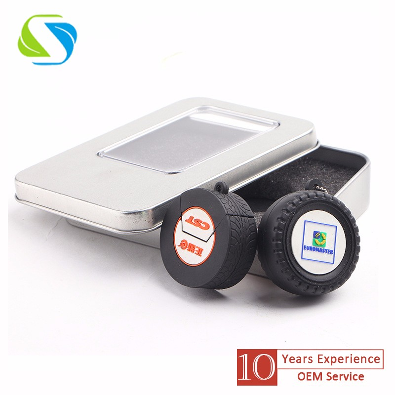 2016 factory promotional custom logo full printed plastic wheel custom usb flash drive