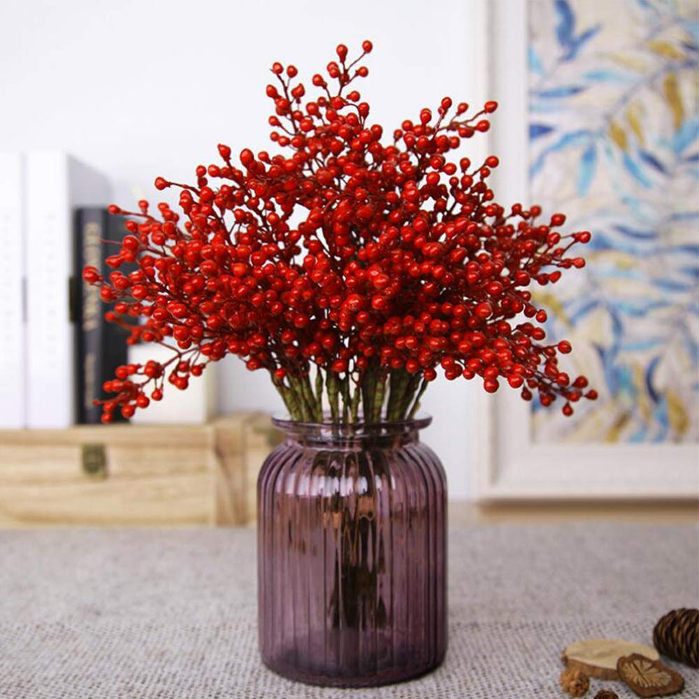 Efivs Arts Artificial Red Berry,8 Pack Holly Christmas Berries Stems for Christmas Tree Decorations, Crafts, Holiday and Home Decor