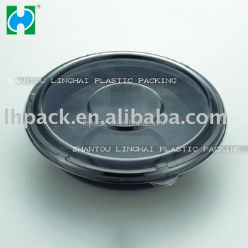 Plastic Disposable Bowl with lid , salad packaging salad container reusable