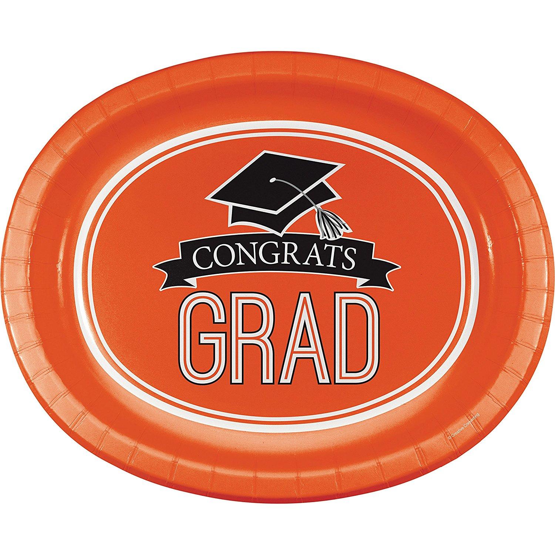Graduation School Spirit Orange Oval Plates, 24 ct