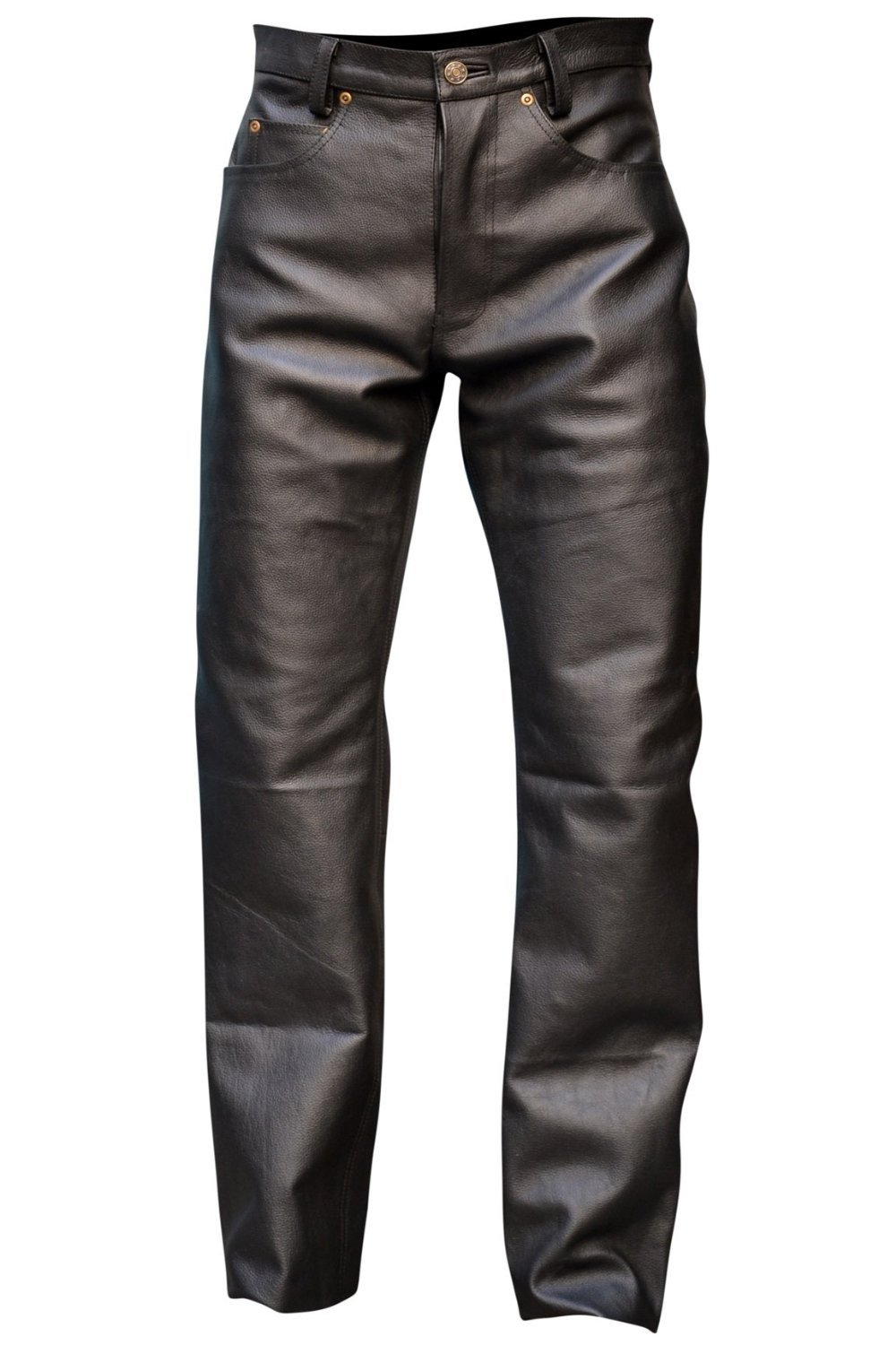 Mens Genuine Leather Pant 5 Pockets Jeans Style Button Fly Model (34 Inch Waist)